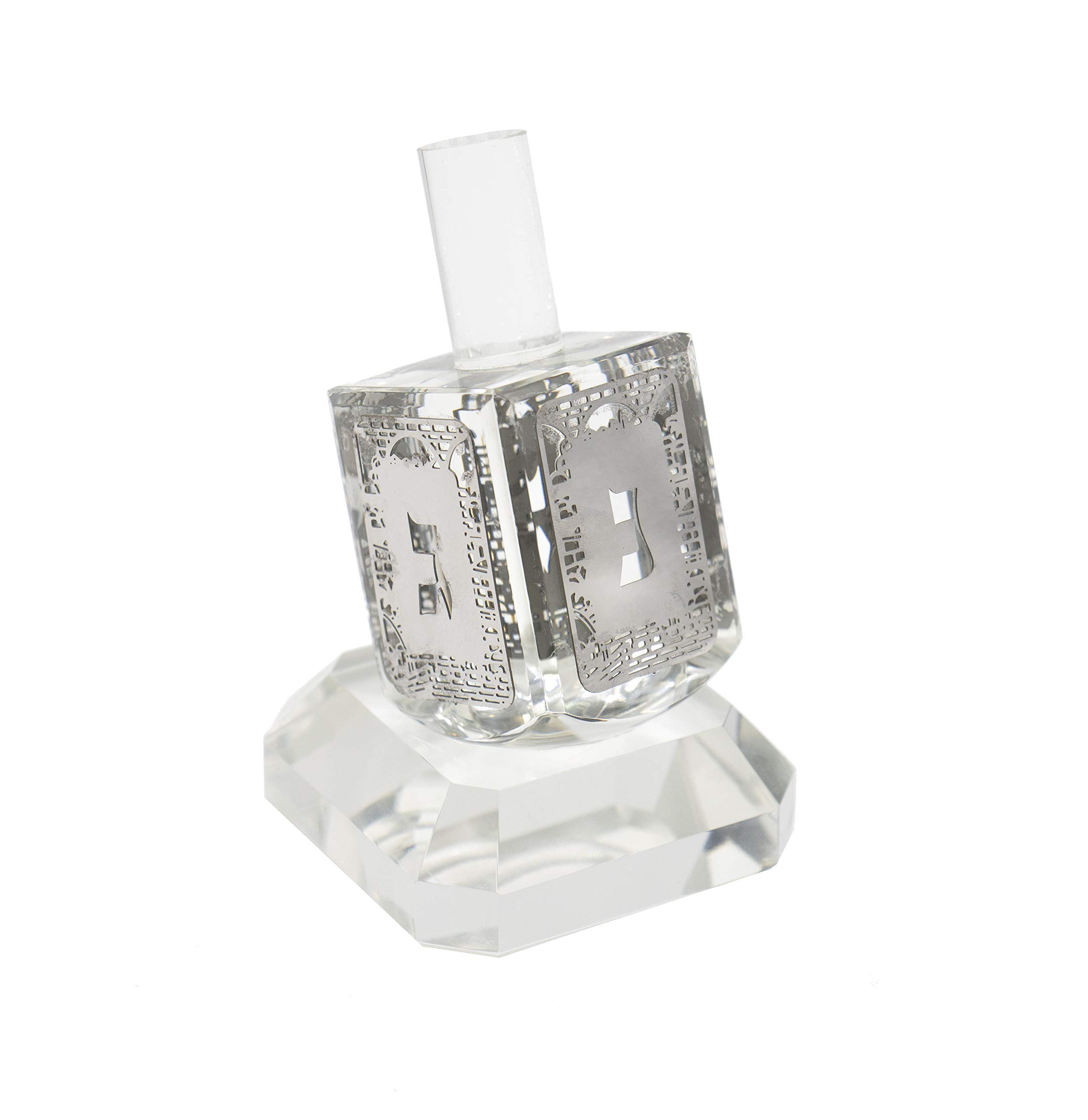 Holyland Crystal Glass Dreidel Made in Jerusalem with Pedestal and Silver Ornaments