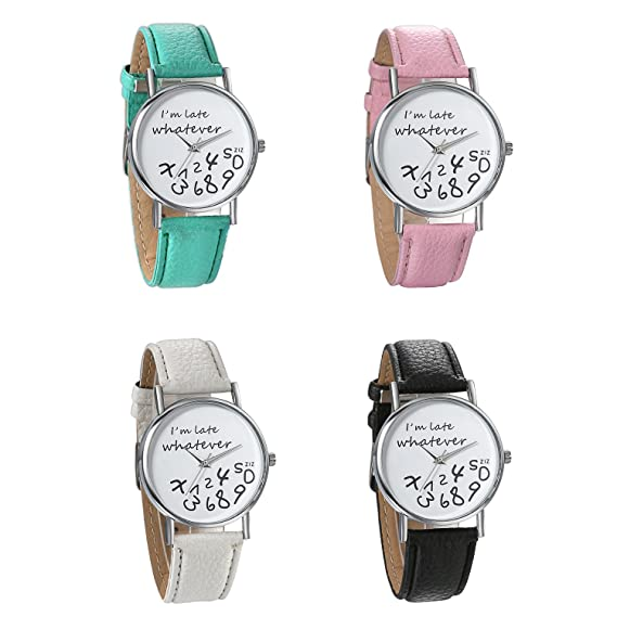 Amazon.com: JewelryWe 4PCS Women Ladies Girls I\'m late, Whatever ...