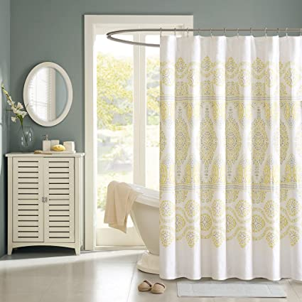 Madison Park MP70 1464 Libreto Shower Curtain 72 X 72quot Yellow