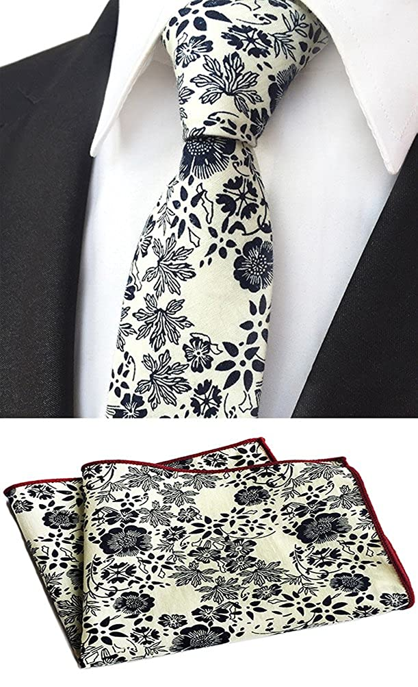 Mens Skinny Tie Cotton Floral Printed Wedding Woven Necktie /& Pocket Square Set