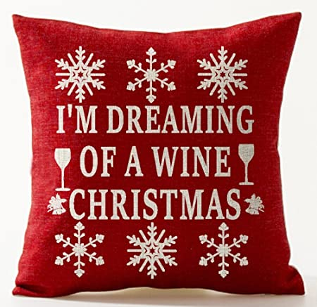 Amazon Com Andreannie Winter Greetings Beige Beautiful Snowflake I M Dreaming Of A Wine Christmas Wineglass Bells In Red Cotton Linen Throw Pillow Case Cushion Cover Home Office Decorative Square 18x18 Inches Home