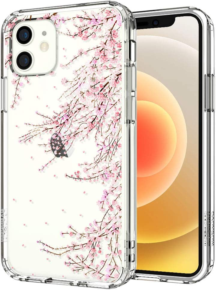 MOSNOVO Cherry Blossom Floral Flower Pattern Designed for iPhone 12 Mini Case 5.4 Inch - Clear