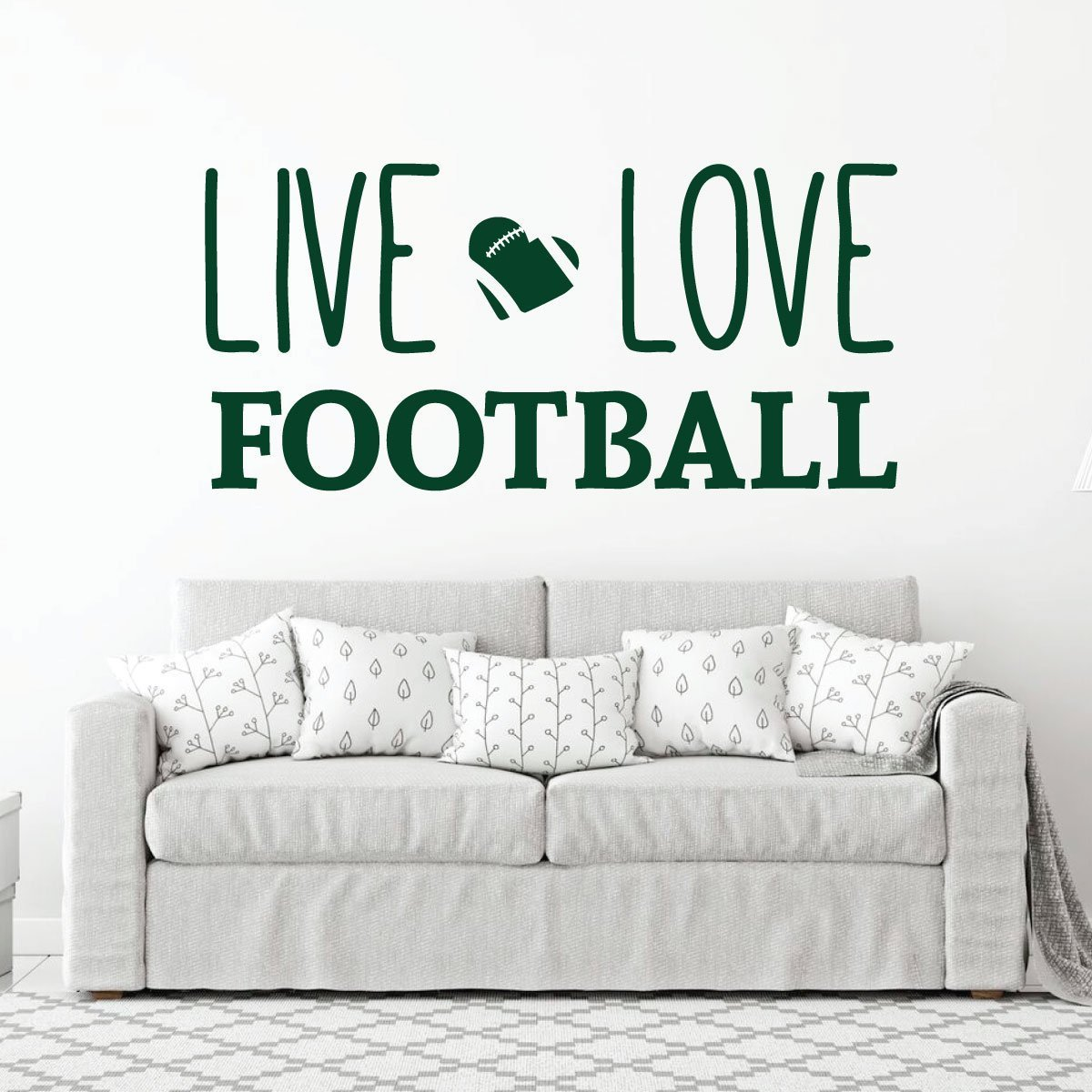 Live Love Football Wall Decal - Vinyl Art Sticker for Bedroom, Home Decor, Playroom or Game Room Decoration by CustomVinylDecor (Image #4)
