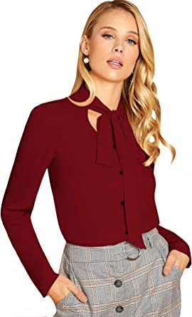 DIDK Femme Top Blouse Chemisier Chic A Manches Longues