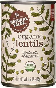 Natural Value Organic Lentils Beans, 15 Oz