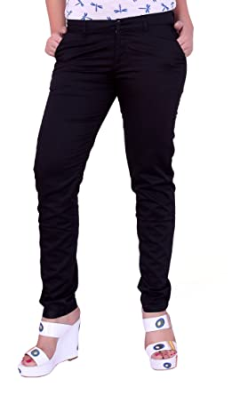 Airwalk Black Color Cotton Trousers  Amazon.in  Clothing   Accessories 095bf9285593