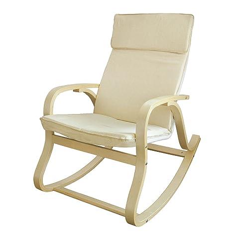 SoBuy® Silla de relada, mecedora, sillón de relada, beige, FST15-W (Mecedora)