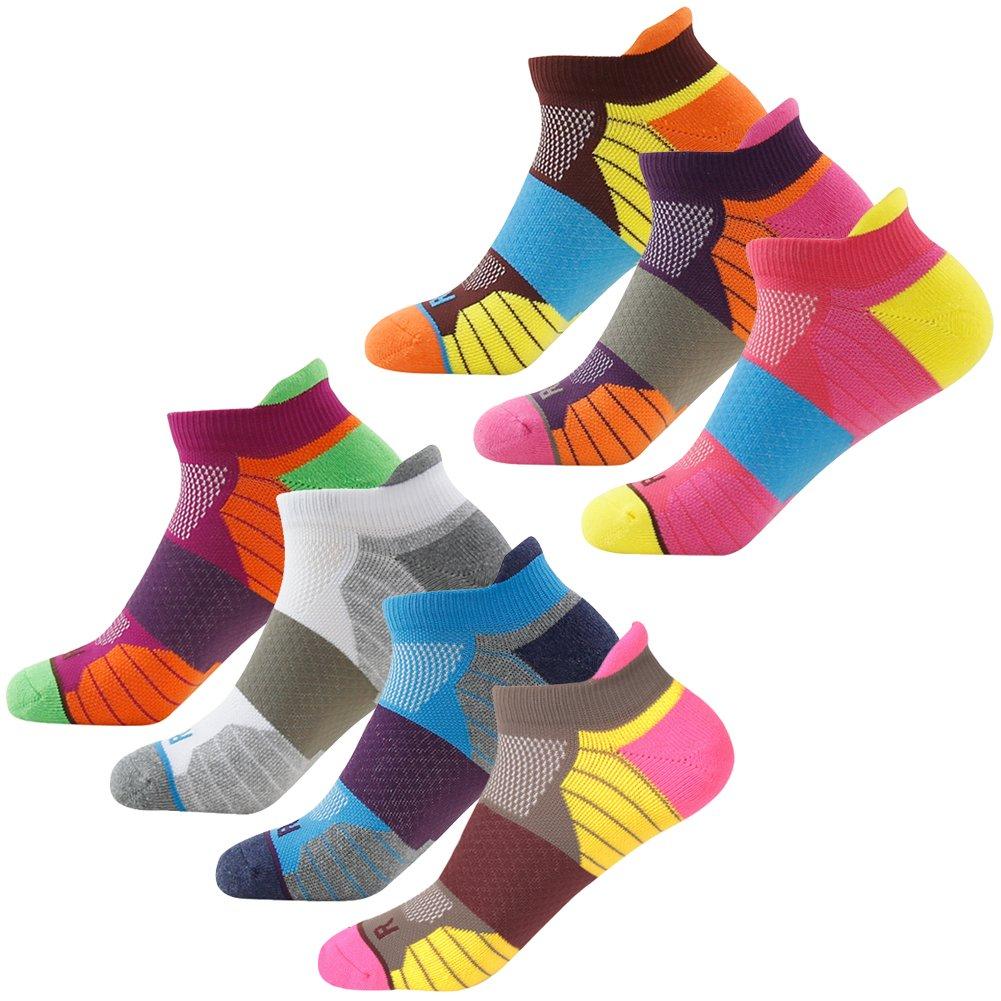 Getspor Athletic Ankle Socks, Dri-Fit Tabbed Cushioned Ankle Fashion All Sports Biking Hiking Tennis Tab Socks for Man and Women, 1 Pair Purple-Orange by Getspor