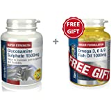 Simply Supplements Glucosamine Sulphate 1500mg 360 Tablets + FREE GIFT Omega 3 6 & 9 30 Capsules