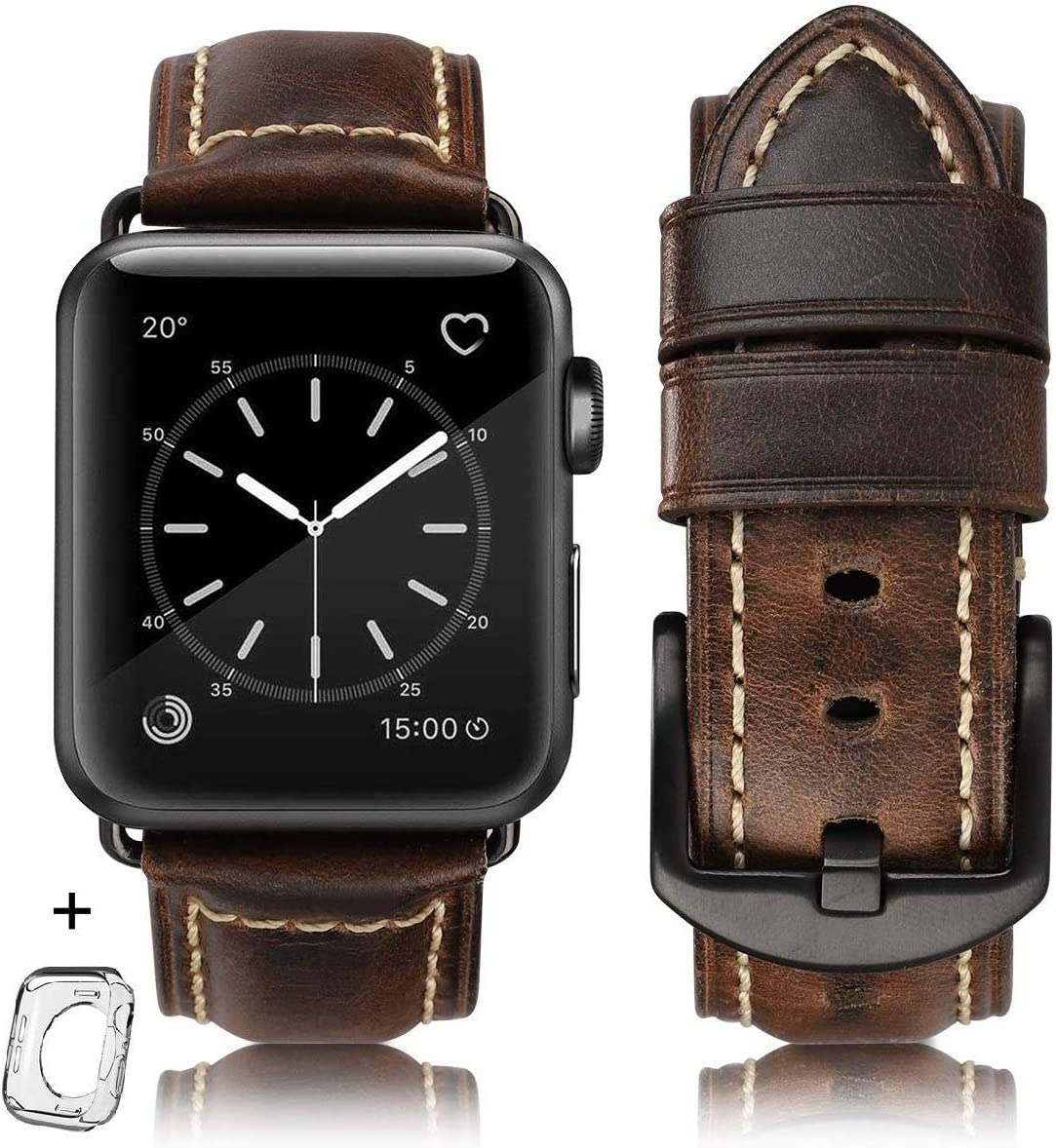 HUAFIY Compatible for apple Watch Band 42mm 44mm men,Top Grain Leather Band Replacement Strap iWatch Series 6/5/ 4 3 2 1,Sport, Edition. New Retro Leather (Retro coffee+Black Buckle, 42mm 44mm-ML)