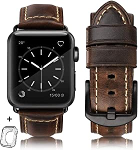 "HUAFIY Compatible iWatch Band 42mm 44mm, Top Grain Leather Band Replacement Strap iWatch Series 4,Series 3,Series 2,Series 1,Sport, Edition (Retro coffee+Black Buckle, 42mm 44mm XL(6.-8.3""))"