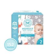The Honest Company Super Club Box Diapers - Newborn Diapers, Size 2 - Pandas & Safari Print | TrueAbsorb Technology | Plant-Derived Materials | Hypoallergenic | 152 Count