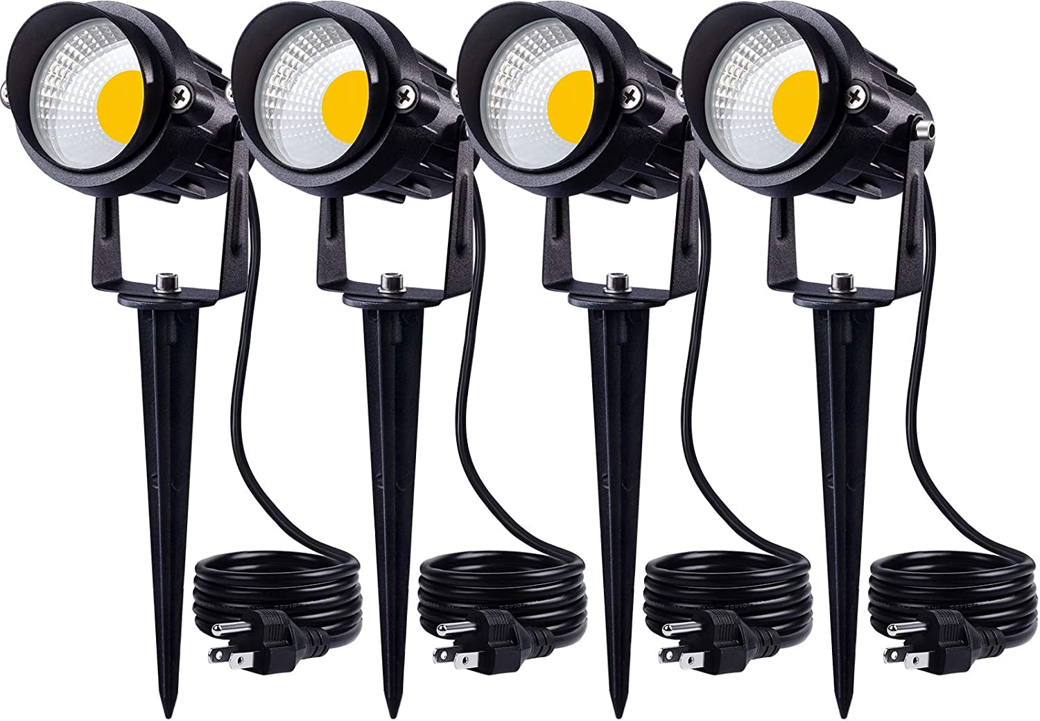 SUNVIE 12W Spot Lights Outdoor LED Landscape Lighting 120V AC Spotlights for Yard Waterproof Landscape Lights with Spiked Stake for Tree Garden Pathway Warm White Flag Lights with US 3-Plug In(4 Pack)