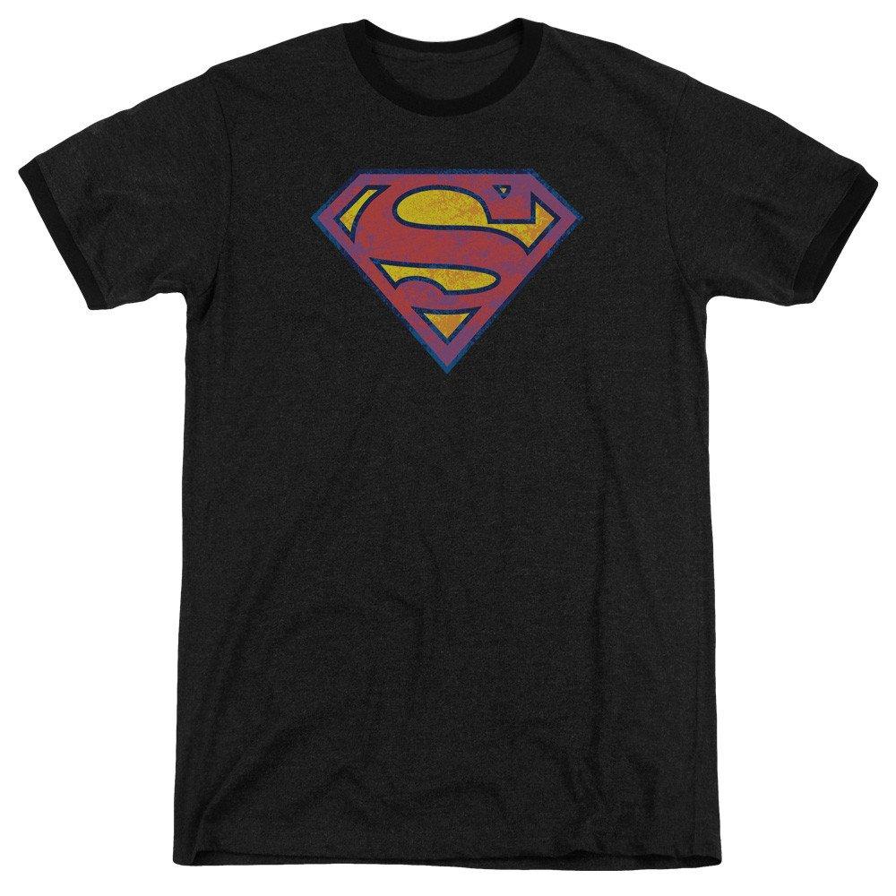 Sm Neon Distress Logo Adult Ringer T Sons of Gotham Superman Shirt M
