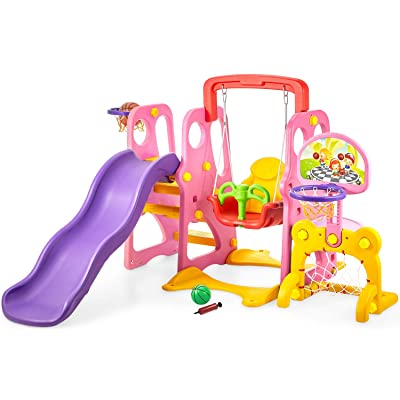 Climber and Swing Set Toddler 5 in 1 Play Slide Climber Indoor Outdoor Playground Toy, 2 Basketball Hoops with Ball Game Accessories Activity Center in Backyard, for Kids Ages 3 and up: Toys & Games