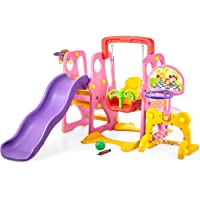 Climber and Swing Set Toddler 5 in 1 Play Slide Climber Indoor Outdoor Playground Toy, 2 Basketball Hoops with Ball Game Accessories Activity Center in Backyard, for Kids Ages 3 and up