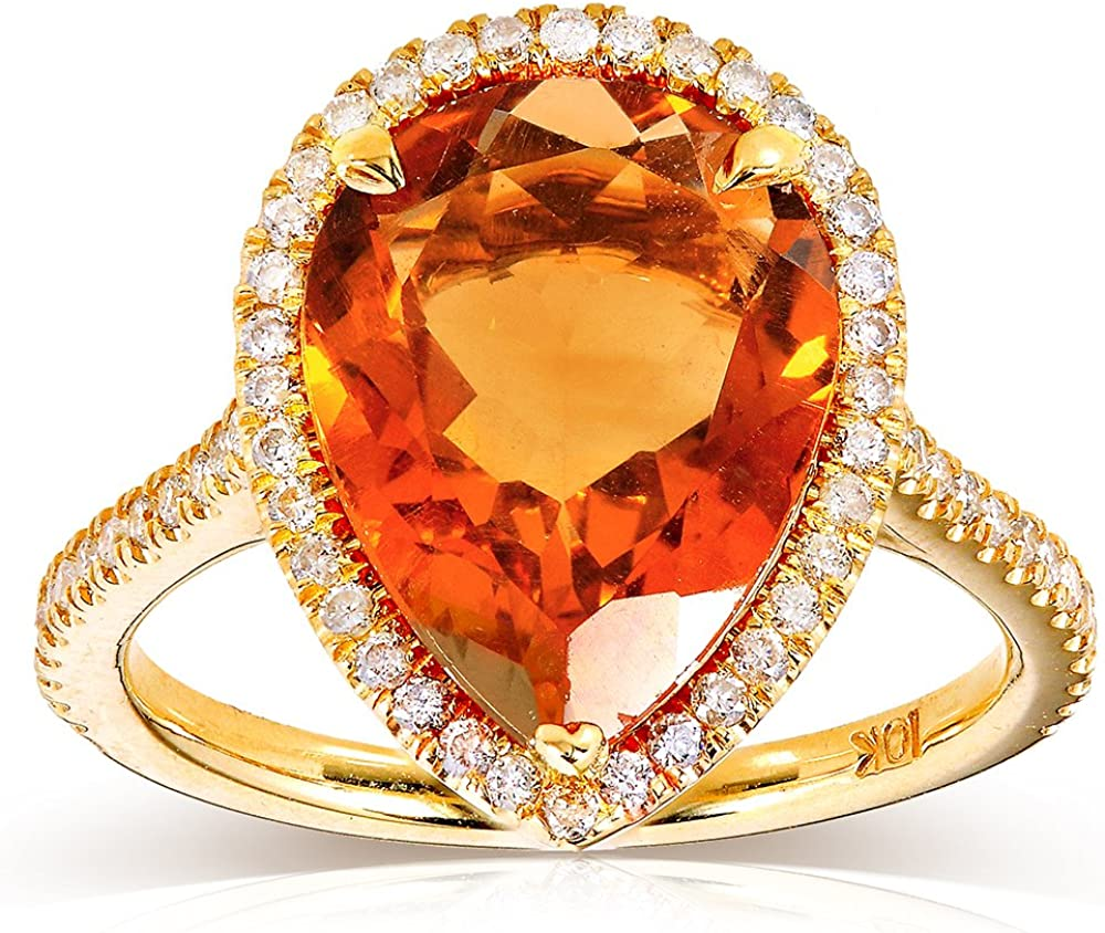Engaging US size 10 14 Citrine on Copper in an engagement-style setting