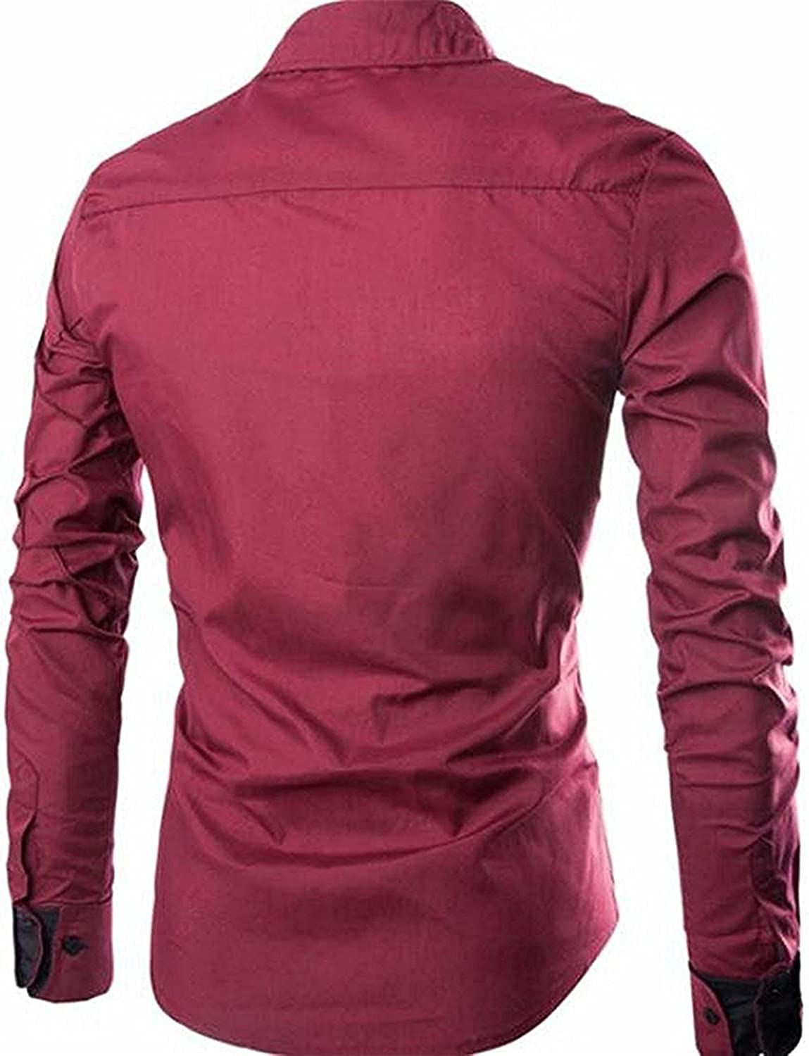 Rising ON Mens Lapel Button Collision Color Formal Slim Comfort Long Sleeve