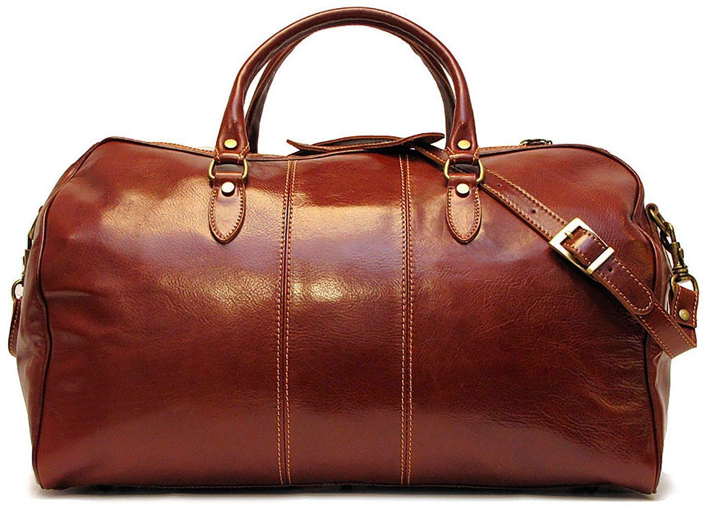 Floto Unisex [Personalized Initials Embossing] Venezia Leather Duffel Bag in Brown