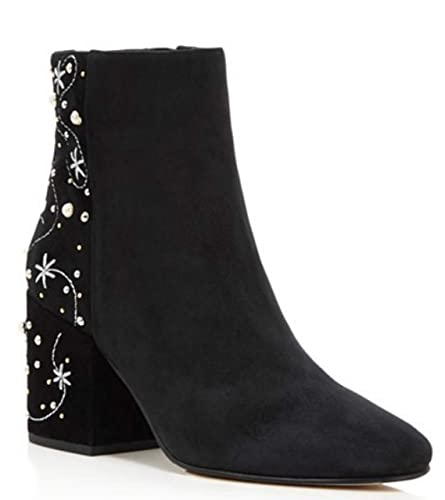 f334f7fe4acd26 Image Unavailable. Image not available for. Color  Sam Edelman Women s TAFT  Embroidered Faux Pearl Stud Black Suede Boots ...