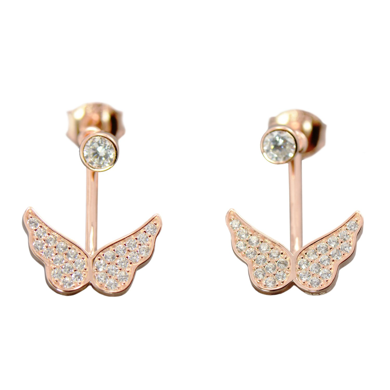 Paialco 925 Sterling Silver Flying Wings Dangle Stud Earrings, Rose Gold Plating
