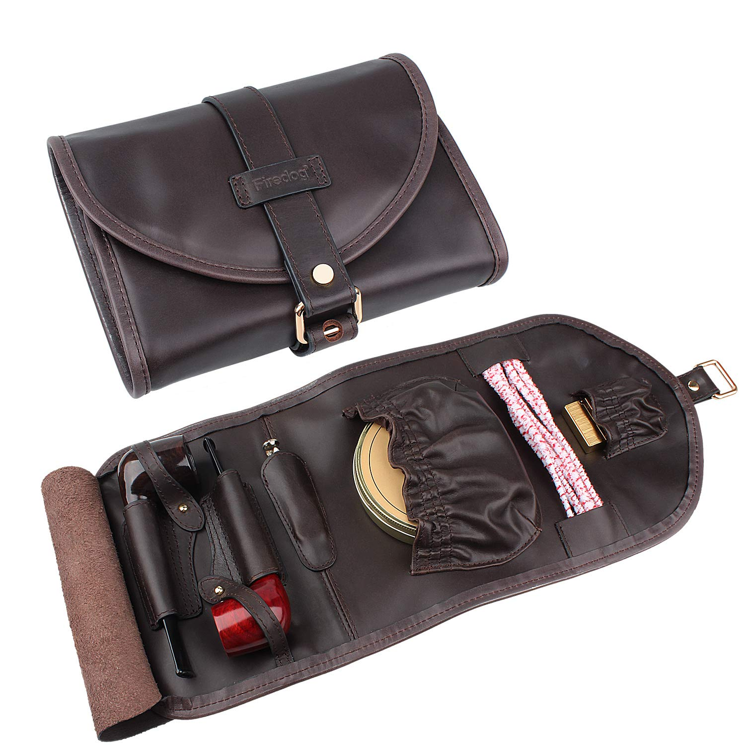 Traditional Brown Genuine Leather Tobacco Smoking Pipe Pouch Bag Organize Case Pipe Tool lighter Holder Pocket for 2 Pipe (black-brown) by Unknown (Image #1)