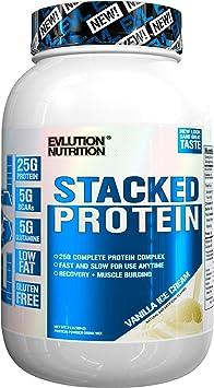 Evlution Nutrition Stacked Protein 908 g Proteína en Polvo con 25 Gramos de Proteínas, 5 Gramos de BCAA y 5 Gramos de Glutamina (Vanilla Ice Cream)