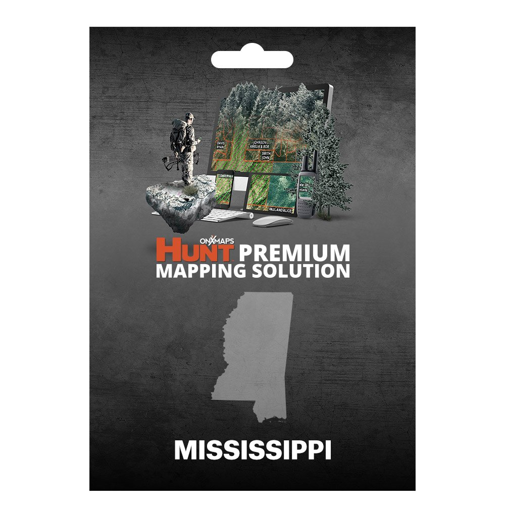 onXmaps HUNT Mississippi: Digital Hunting Map For Garmin GPS + Premium Membership For Smartphone and Computer - Color Coded Land Ownership - 24k Topo - Hunting Specific Data