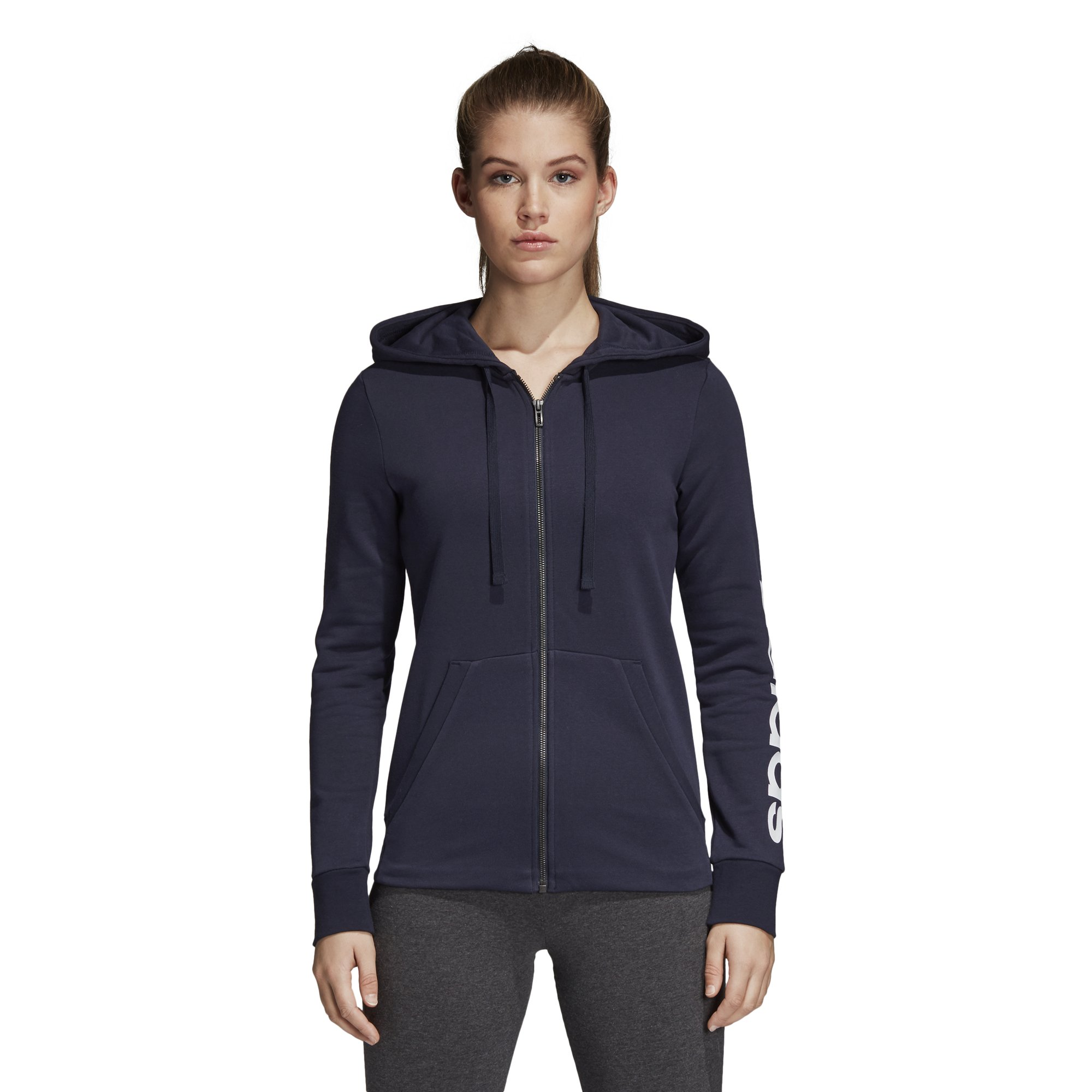 adidas Women's Essentials Linear Full Zip Hoodie Legend Ink/White X-Large by adidas