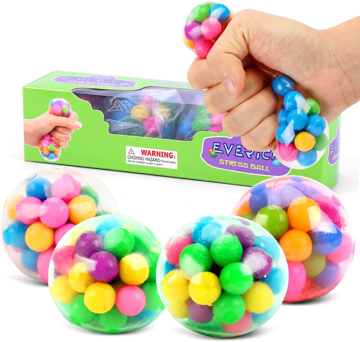 Fidget Sensory Toys for ADHD Autistic Children Squeeze Ball Toy Stress Balls for Kids Hand Exercise Rainbow Stress Ball Stress Relief Balls for Adults Teens Party Favors