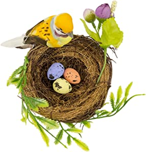 Berfutall-Easter Artificial Nest Natural Bird Nest Kit Includes Artificial Twig Nest, Fake Foam Feather Birds, Foam Eggs Ornaments for Crafts Home Party Decor (BX)