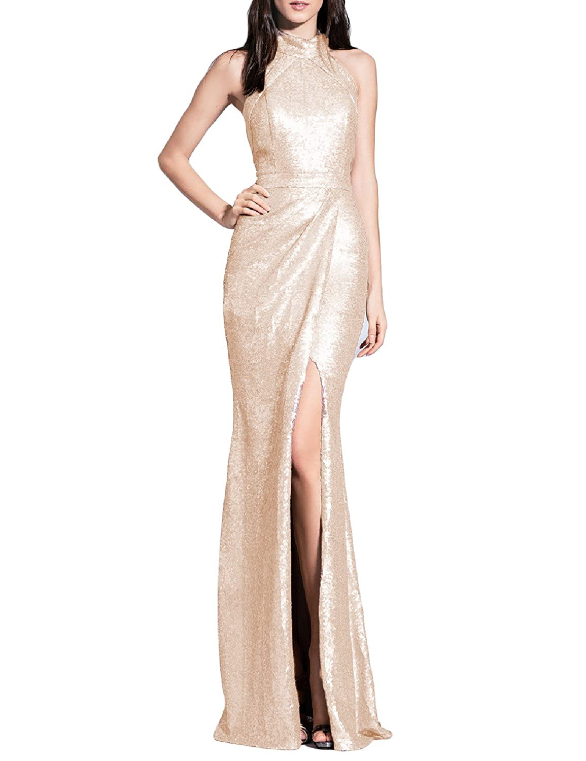 Champagne YSMei Women's Long Sequins Halter Evening Prom Dress Split Party Gowns YSQ90