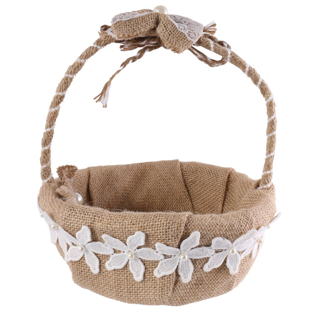 MagiDeal Vintage Rustic Burlap Jute Bow Flower Girl Basket for Wedding Ceremony Party by MagiDeal