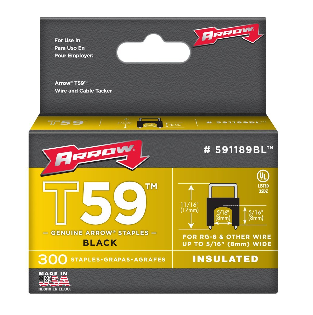 Arrow Fastener 591189BLSS Genuine T59 Insulated 5/16-Inch by 5/16-Inch Staples, Black, 300-Pack