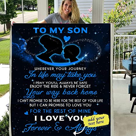 TO OUR AMAZING SON LOVE MOM AND DAD   3D CUSTOM FLEECE PHOTO BLANKET FAN GIFT