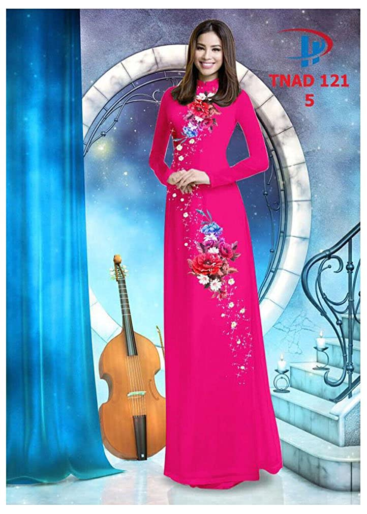 Ao Dai All Size ADVN00327 Silk 3D Traditional Vietnamese Long Dress Collections with Pants