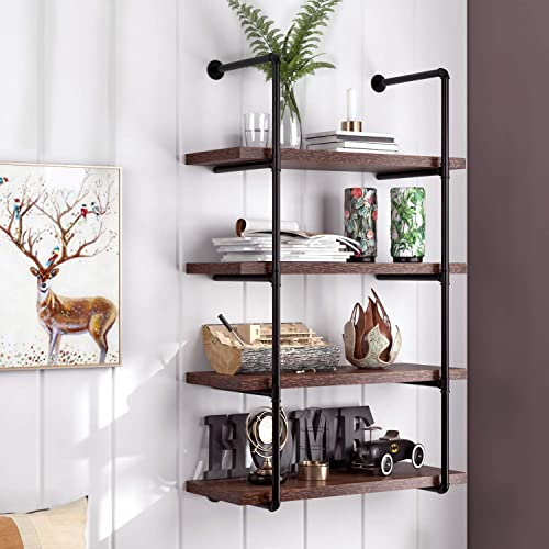 HOMECHO 4-Tier Industrial Pipe Shelf, Rustic Wall Shelf, Vintage Pipe Shelving Unit, DIY Floating Bookcase for Home Office, Retro Brown