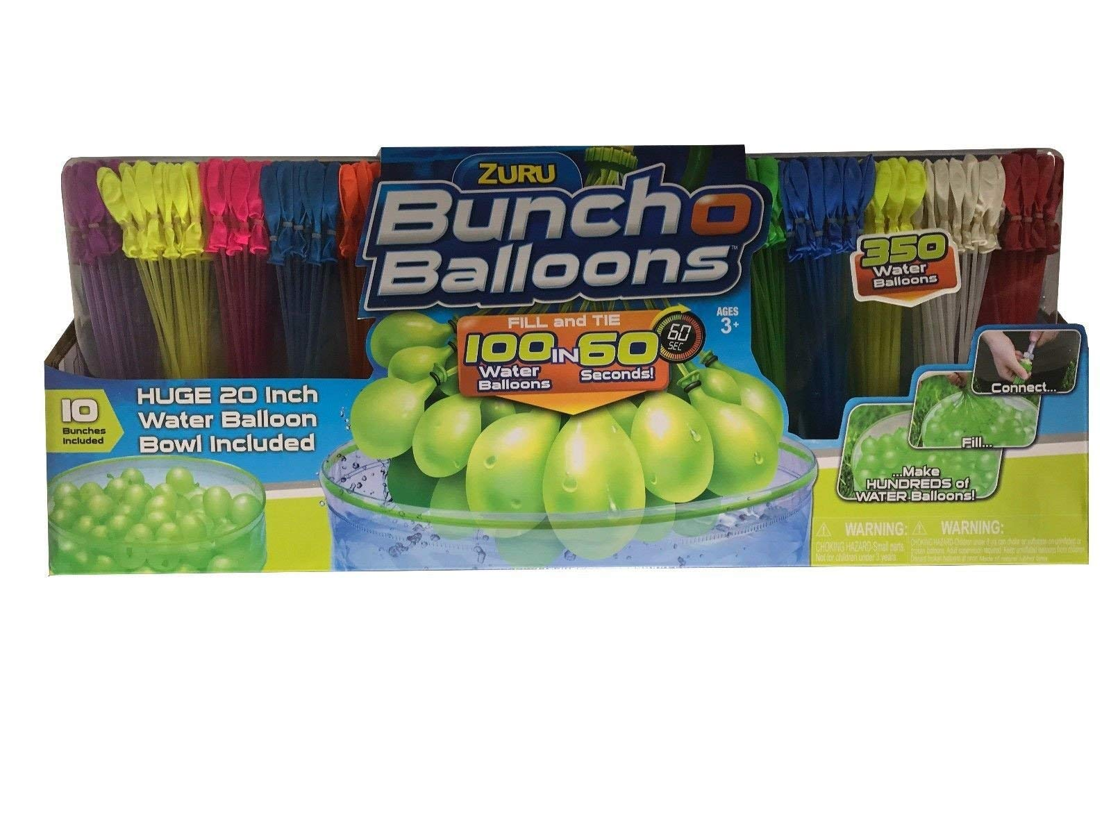 ZURU Bunch O Balloons, Fill in 60 Seconds, 350 Water Balloons, 20'' Water Balloon Bowl Included by ZURU