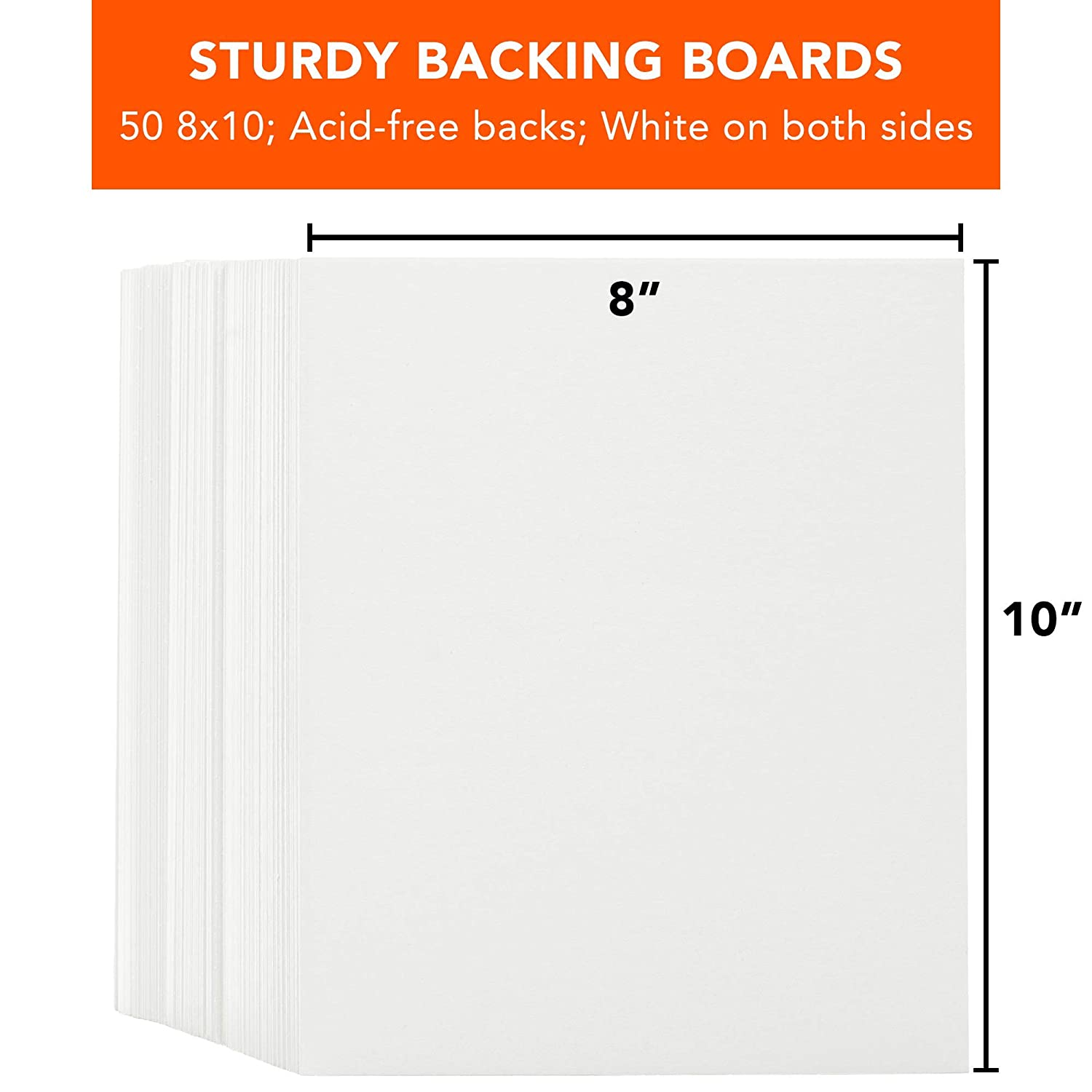 Photos and Frames Backing Only Pack of 50 8 x 10 Inch Pre-Cut White Backing Boards for Picture Mats Mattes 8 x 10 50-Pack Backs Only