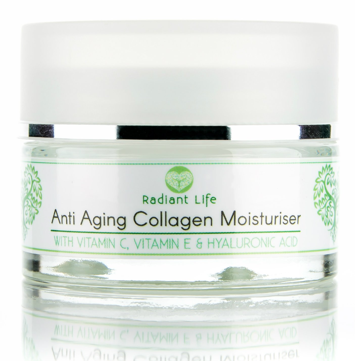 Anti Aging Moisturiser Night Cream - with Marine Collagen, Peptides, Vitamin E, Vitamin C and Hyaluronic Acid - The Best Anti Ageing Collagen Booster for Face - Reduces Wrinkles, Lifting, Rejuvenating and Firming whilst Deeply Hydrating RLAACM