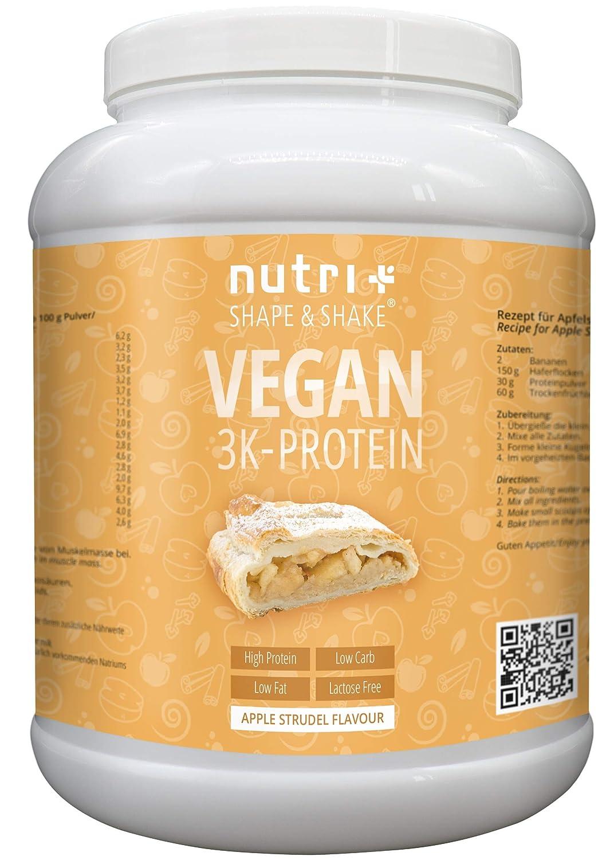 PROTEIN PULVER VEGAN Apfelstrudel 1kg | 82,6% Eiweiß | Nutri-Plus Shape & Shake 3k Eiweißshake