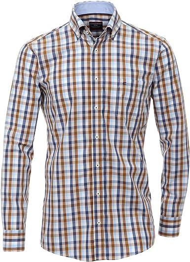Camisa Manga Larga Casa Moda Azul-marrón a Cuadros ...