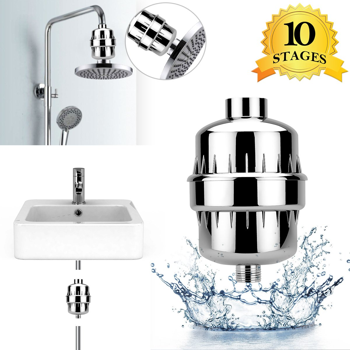 Shower Filter, WeGuard 10-Stage Universal Shower Head Water Filter with 2 Cartridges for Hard Water - Removing Chlorine Fluoride Heavy Metal - For All Types of Shower