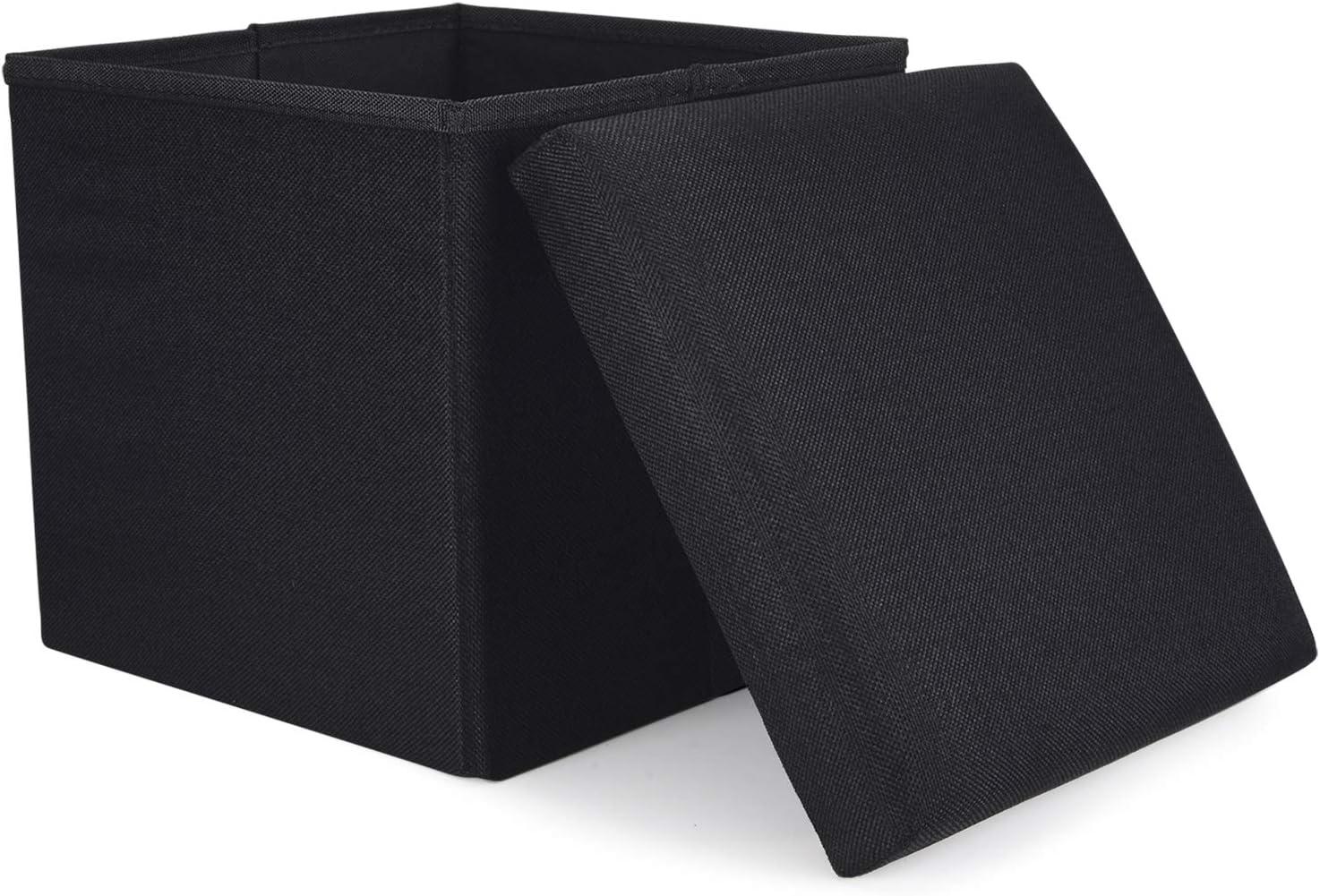 WoneNice Folding Storage Ottoman, Versatile Space-Saving Storage Toy Box with Memory Foam Seat, Max Load 100 kg Linen Black 12 x 12 x 12 Inch