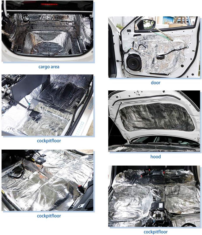 uxcell 197mil 5mm 10.97sqft Car Heat Sound Deadener Insulation Mat Glass Fiber Cotton Liner 79 X 20inch