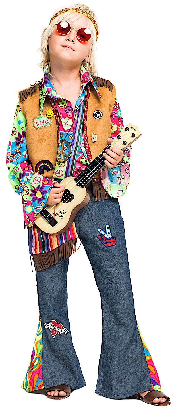 266a9c588f1c Costume Costume Costume di Carnevale da Hippy Bimbo Vestito per Bambino  Ragazzo 1-6 Anni Travestimento Veneziano Halloween Cosplay Festa Party  52342 Taglia ...