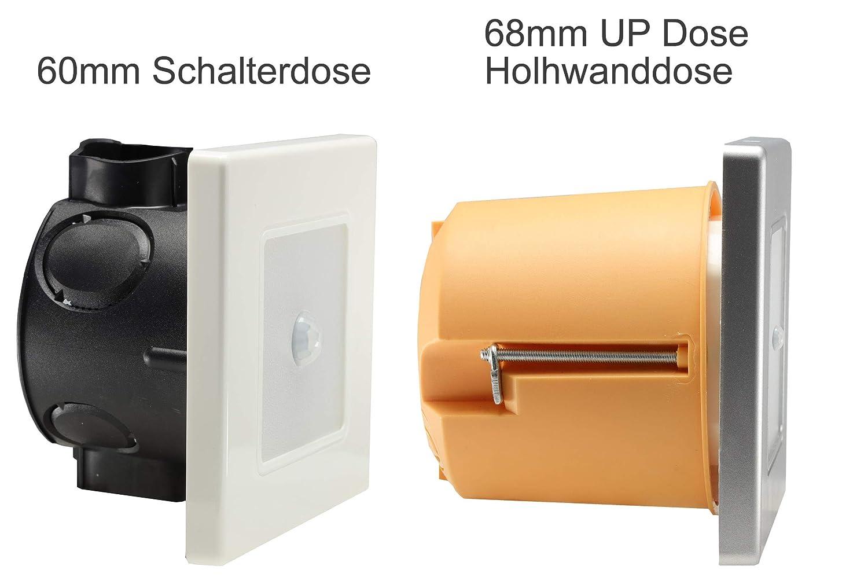 ChiliTec LED Wand Einbauleuchte mit Bewegungsmelder 120/° I 2,5 Watt I 86x86x33mm I Rahmen Wei/ß Lichtfarbe Warmwei/ß
