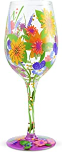 Enesco Designs by Lolita Garden' Hand-Painted Artisan Wine Glass, 15 Ounce, Multicolor