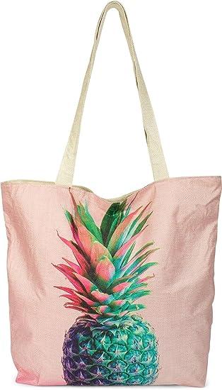 a67b703bfcfdf styleBREAKER kleine Strandtasche mit buntem Ananas Print ...