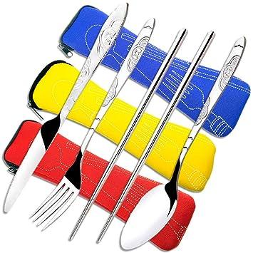 CKANDAY 3 Paquetes / 12 Piezas Juego de Cubiertos de Acero Inoxidable, Cuchillo Tenedor Cuchara Palillos con Estuche Transporte Cubertería a Prueba de ...